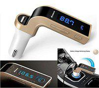 Car G7 Bluetooth Fm Transmitter with USB Flash Drives/Tf Music Player Bluetooth Car Kit USB Car Charger (Colour Vary)