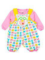Mee Mee Baby Dungrees Set (Pink Faces, 3-6 Months)