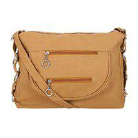 GulshanCollection Women Evening/Party, Casual PU Sling Bag With Stylish Side-Triple-Ring (Beige)
