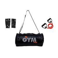Credence Leather Gym Bag with 1 Toning Tube and Gym Gloves