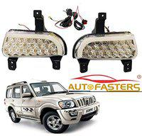 Autofasters Car 21 Led fog Light with DRL Day Running Light For Mahindra Scorpio Hawk (White)
