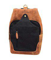 LEADERACHI Canvas Crossbody Chest Messenger Bag (HALEATHERS207501A, Brown and Grey)