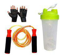 GaWin Long Shaker, Ball Bearing Jumping Rope & Gym Gloves Combo (Assorted Colour)