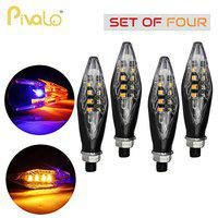 Pivalo PVTSLB4 Shark Style LED Side Indicator Light Universal Front Rear Turn Signal Lamp Waterproof Daytime Running Blinker for Bikes and Motorcycle (Blue & Yellow, 4 PCS)