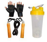 GaWin Transparent Shaker, Wooden Skipping Rope & Gym Gloves Combo (Assorted Colour)