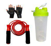 GaWin Flip White Shaker, Ball Bearing Jumping Rope & Gym Gloves Combo (Assorted Colour)
