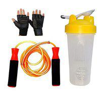 GaWin Long White Shaker, Ball Bearing Jumping Rope & Gym Gloves Combo (Assorted Colour)