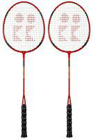 Konex Badminton Racquet with Full Cover, Red/Black- Pack of 2