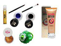 Vozwa Professional Makeup Kit of Roll on Shimmer, nail Arts Glitter, Foundation, Gel Eyeliner Waterproof and Hair Band -pack of 5 (combo_6)