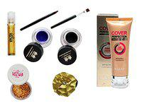 Vozwa Professional Makeup Kit of Roll on Shimmer, nail Arts Glitter, Foundation, Gel Eyeliner Waterproof and Hair Band -pack of 5 (combo_1)