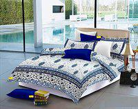 FAB NATION Jaipuri Print Cotton Double Bedsheet with 2 Pillow Covers - Queen (100% Fast Color)// Zipper Pillow Covers // Folded Cloth ON All 4 Sides (Turquoise,Cream)