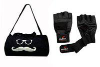 StarX Home Gym Exercise Polyester Set of MS-GB-700 Kit Bag with Leather Gym Gloves (Black) Exercise & Fitness Sets