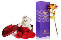 Saugat Traders Artificial Golden Rose Flowersl Scented Flowers with Soft Teddy(Multicolour,1 Artificial Golden Rose, 1 Heart Shape Gift Box with a Teddy Bear)