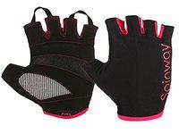 Spinway Polyster Mesh Towel Fabric with SBR Weight Lifting Gym Gloves for Women  Padded with Design   Stretch Wrist Cuff   Workout Fitness Exercise Size -M Color Black and Pink