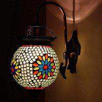 Earthenmetal Ball Shaped Glass Wall lamp for Living & Home Decoration Turkish lamp (Multicolour, Bulb not Included); Made in India