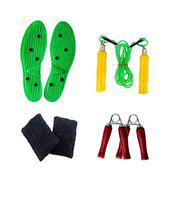 SPANCO Height Increaser, Wooden Handle Skipping Rope, Pair of Hand Gripper and Wrist Band.