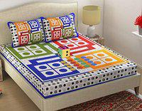 Fabture Cotton 152 TC Bedsheet (Full_Multicolour)