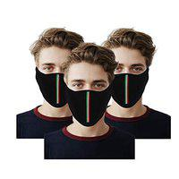 Vocado Bike Riding and Cycling Anti Pollution Dust Half Ninja Face Cover Mask (Black, Pack of 3)