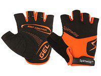Spinway Polyster Mesh Towel Fabric with SBR Weight Lifting Gym Gloves for Women  Padding Gel Grip Control Flip Cuff  Workout Fitness Exercise Size -S Color Orange and Black