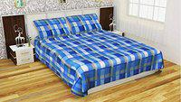 Dreams Home Fleece Warm Woolen Double Bedsheet with 2 Pillow Covers (Blue)