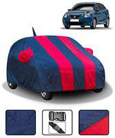 Spaiko Car Body Cover for Maruti Baleno 2015-2019 with Mirror and Antenna Pockets (Full Sized, Full Bottom Elastic, , Red & Blue Stripe Design)