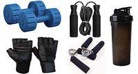 RV Dumbbell Set 5KG Pair with Leather Gym Gloves/Skipping Rope/Gripper/Water Bottle