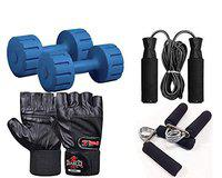 DIABLO Dumbbell Set 2KG Pair with Leather Gym Gloves/Skipping Rope/Gripper