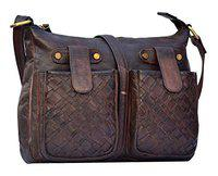Annodyne Unisex Leather Handbag/Side Sling Leather Purse (Brown)