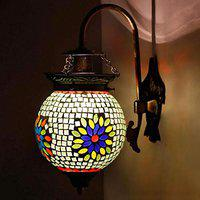 Earthenmetal Handcrafted Fower Design Green Glass Wall Lamp