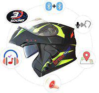 Green Stone G6 Flip-Up Smart Dual Bluetooth Helmet with Voice Assistance Large 600mm