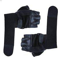 DreamPalace India Leather Wrist Support Gym and Fitness Gloves (Black, Free Size)