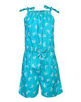 Stylo Bug Kids Jumpsuit, Sleeveless Printed Square Neck Jumpsuit for Girls, Aqua