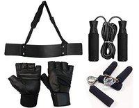 RV Home Gym Arm Blaster Combo with Leather Gym Gloves/Skipping Rope/Gripper