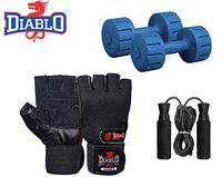 DIABLO Dumbbell Set 3KG Pair with Leather Gym Gloves & Skipping Rope