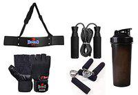 DIABLO Home Gym Arm Blaster Combo with Leather Gym Gloves/Skipping Rope/Gripper/Water Bottle