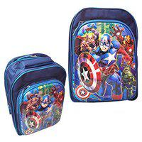 Priceless Deals Avengers Cartoon Printed 16 Inches 5D Embossed Polyester Navy Blue School Bags