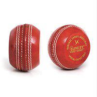 SUNLEY in Swing, Out Swing, Seam, Throw, Training Pack of 1 Piece Cricket Leather Ball (Pack of 1, Red)