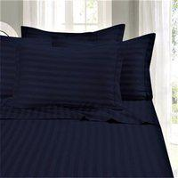 Linenovation Premium 100% Cotton 300 TC Single Fitted Bedsheet 36x78 with 1 Pillow Cover (Dark Blue)