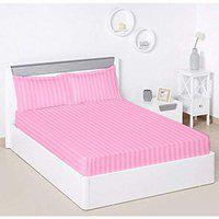 Linenovation Premium 100% Cotton 300 TC Small Single Fitted Bedsheet 36x72 with 1 Pillow Cover-Pink