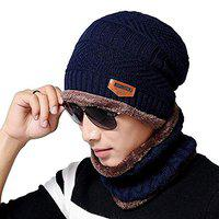 DALUCI Winter Beanie Hat Scarf Set Warm Knit Hat Thick Fleece Lined Winter Hat & Scarf for Men Women (Blue)