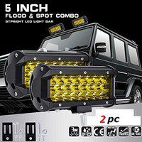 DELHI TRADERSS LED Fog Light/Work Light Bar 24 LED 72 Watt Spot Beam Driving Lamp for Bikes and Cars (Yellow) -2 Pieces