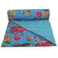 Stylo Culture Cotton Bedspread Kantha Bedcover Single Bed Cover Turquoise Tropical Fruit Print Hand Stitched Embroidered Ethnic Bedding Quilt