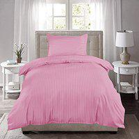 RRC Premium Hotel Quality 250 TC Striped Cotton Single Duvet Cover, 60 x 90 Inch with 1 Pillow Cover 18 x 27 Inches (Pink)