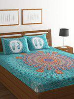 Ispace Jaipuri 104 TC Cotton Double Bedsheet with 2 Pillow Covers - Multicolour