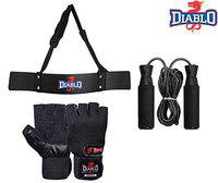 DIABLO Home Gym Arm Blaster Combo with Leather Gym Gloves/Skipping Rope