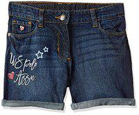 US Polo Association Baby Girl's Cotton Shorts (UGST514912T_Blue_12T | 1-2 Years)