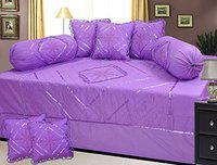 HomeStore-YEP Cotton Purple Designer Embroided Diwan Set of 8 Pieces for Living Room Dining Hall (1 Single Bedsheet, 5 Cushion Covers, 2 Bolster - Set of 8)