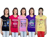 IndiWeaves Women Cotton T-Shirt(Pack of 5)(3100506070827-IW-W-M_Multicolor_Medium)