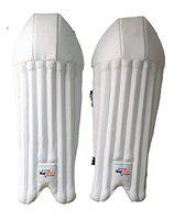 HeadTurners Cricket Wicket Keeping Leg Guard Pads Youth (White)