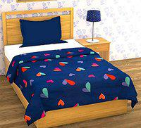RRC 200 TC Printed Cotton Single Duvet Cover, 60 x 90 Inch (Navy Blue with Heart Print)